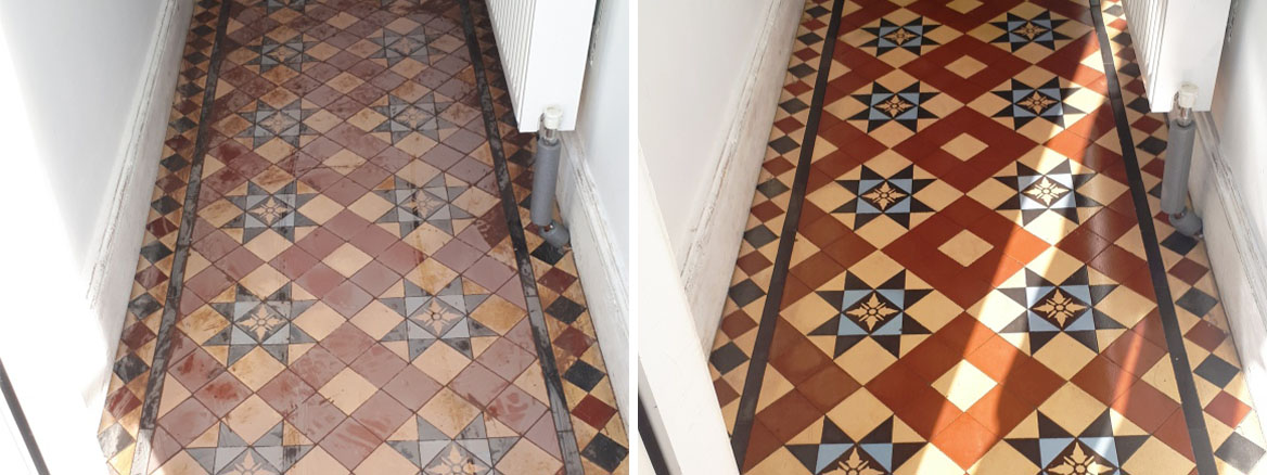 Victorian Tiled Hallway Before and After Restoration Edgbaston