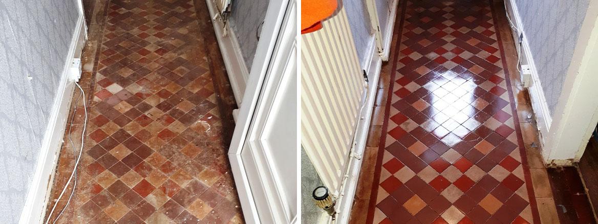 Victorian Tiled Hallway Before and After Restoration Erdington