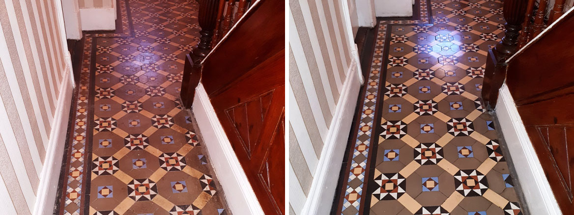 Victorian Tiled Hallway Floor Before and After Cleaning Dudley