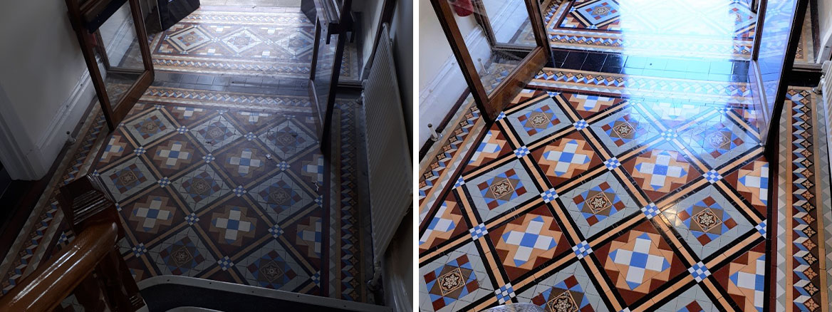 Victorian Tiled Hallway Tipton Before and After Restoration