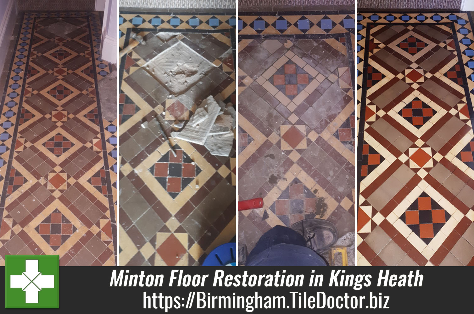 Full Restoration of a Minton Tiled Victorian Hallway Floor in Kings Heath