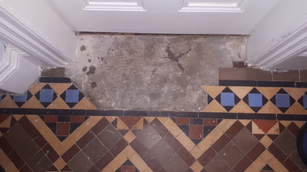 Victorian Tiled Hallway Before Restoration Kings Heath