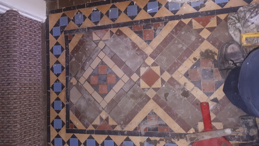 Victorian Tiled Hallway During Restoration Kings Heath