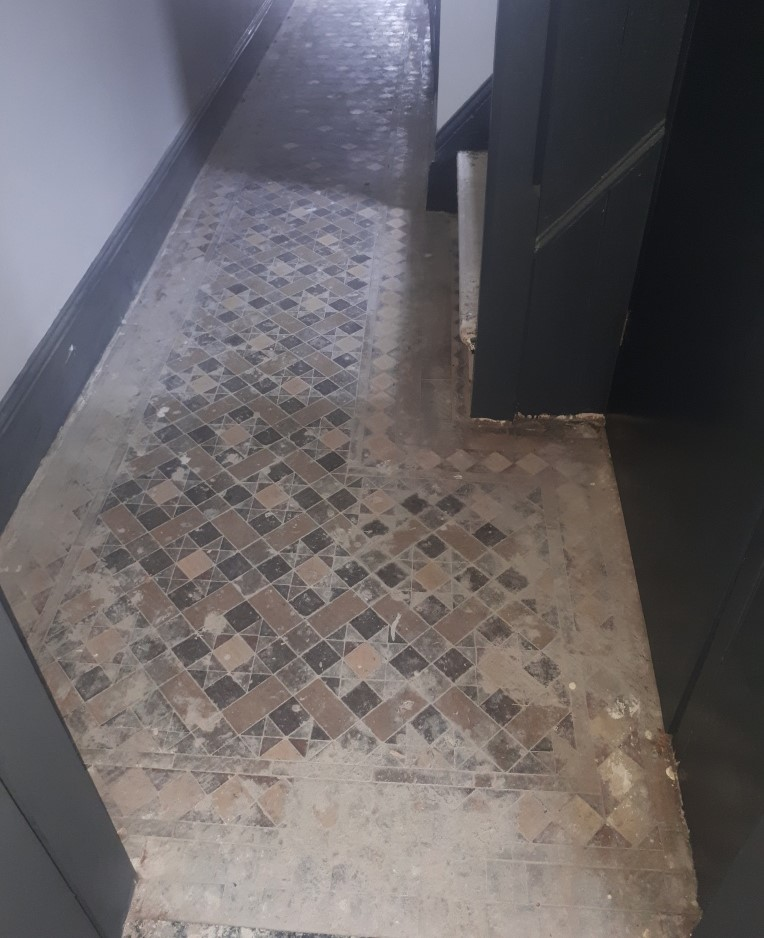 Victorian Tiled Hallway Before Restoration Smethwick