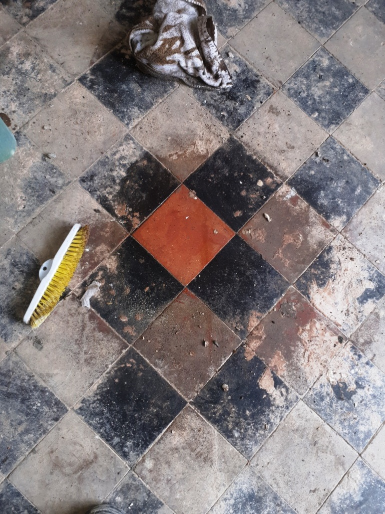 Quarry Tiled Floor During Renovation Harborne
