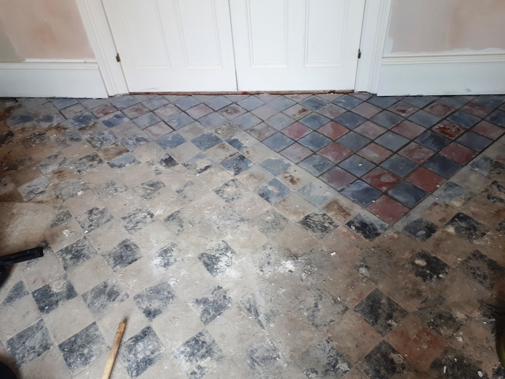 Quarry Tiled Floor During Renovation Harborne